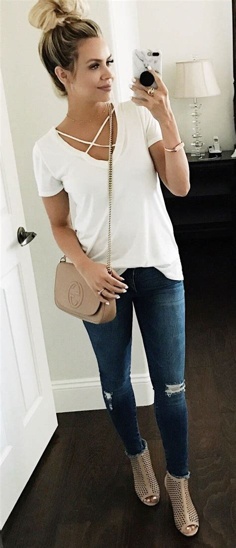 everyday outfit for women on pinterest spring fashion white top ripped skinny jeans beige
