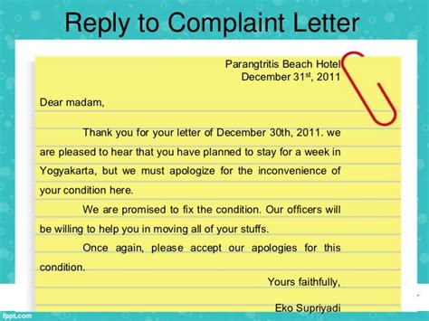 Complaint Letter Reply Hotel Writing Complaint Letter