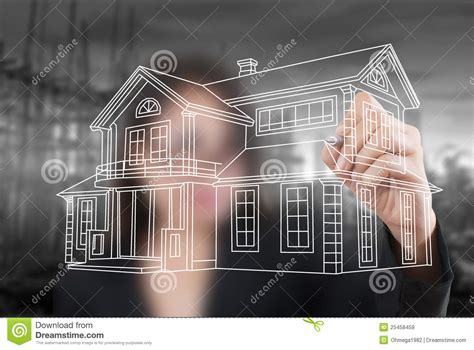 design house business plan business lady drawing house plan for construction stock