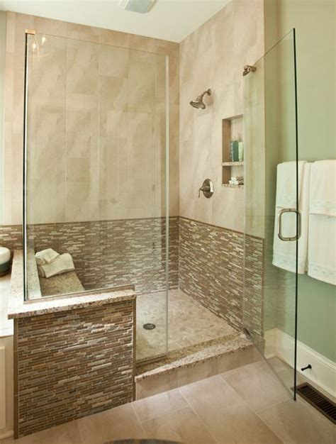 modern walk  shower    custom model home