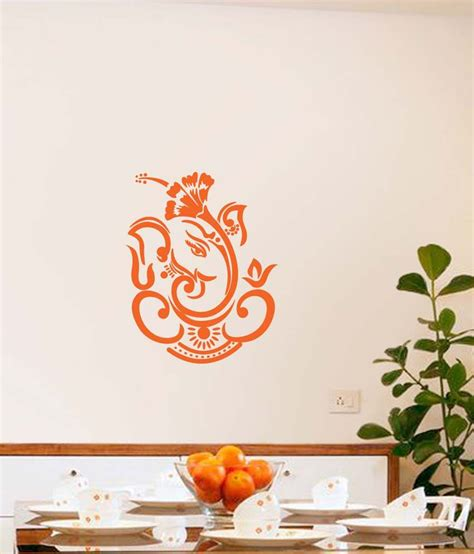 Home Design And Decor Shopping App Review Walldesign Dasavala Ganesha Orange Wall Sticker Small