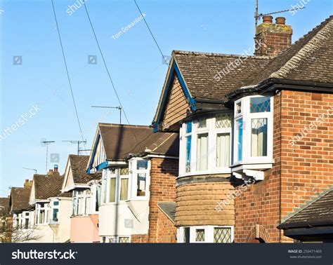 semi detached house or row house row semidetached suburban houses uk retrom stock photo