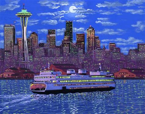 paint nite seattle painting of downtown seattle ferry space needle