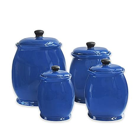 American Atelier 4 Piece Canister Set In Blue Bed Bath Bed Bath And Beyond Canister Sets