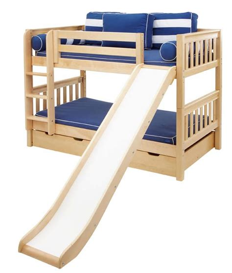full size loft bed with slide maxtrix bunk bed in natural w slide 720 0s