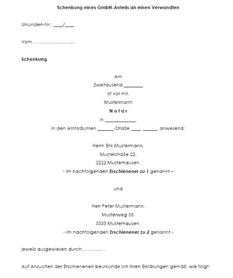 Schenkungsvertrag Auto by Schenkungsvertrag Gmbh Anteil Vorlagen De