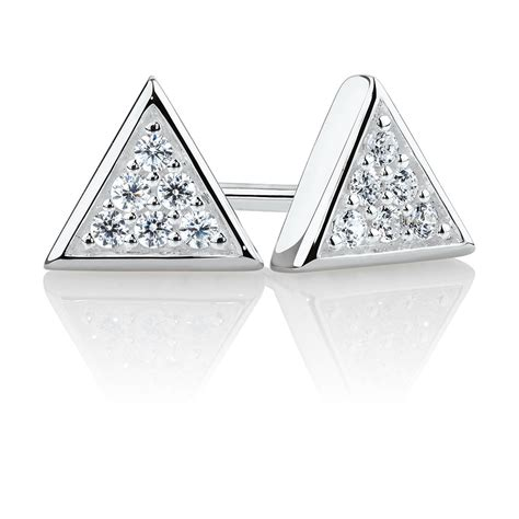 Triangle Stud triangle stud earrings with cubic zirconia in sterling silver