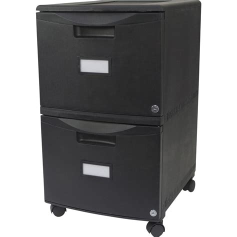 Storex Stackable Poly File Drawer by Storex 61309b01c Black Plastic Two Drawer Mobile Filing