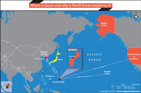 map usa korea where is guam and why is korea targeting it answers