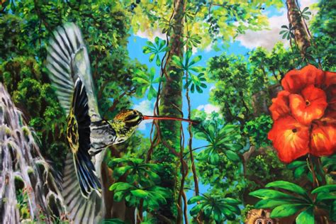 Painting Section by Monkey Paradise Detail Of Central Section Painting