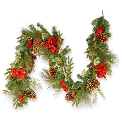 home accents holiday 6 ft flocked pine garland with red
