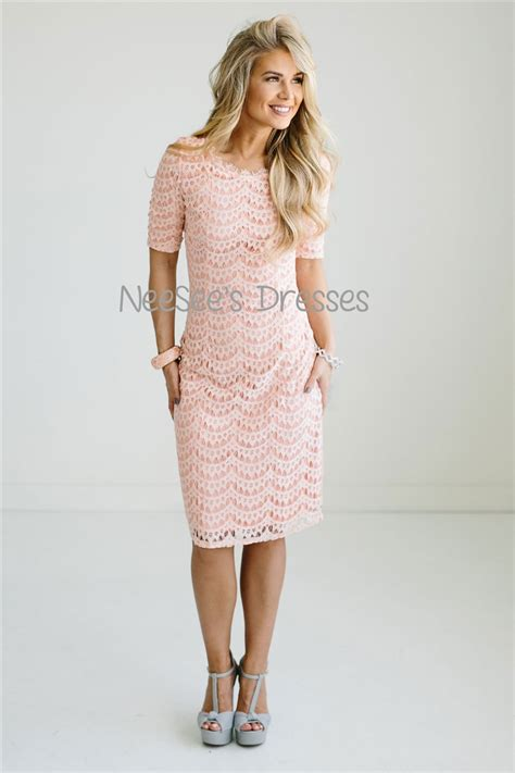 Gbs Lace Dress Baby Pink pale pink lace modest dress modest bridesmaids dresses