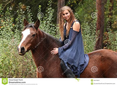 commercial girl riding horse pretty girl riding a horse without any equipment stock