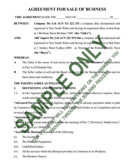 business sale contract 8 sales agreement contract sles templates pdf doc