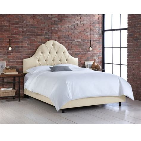 tufted twin bed skyline upholstered arched tufted twin bed in talc