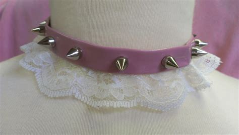 pink spiked collar pastel pink spike collar with white lace on storenvy