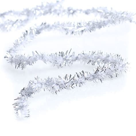 white and silver tinsel wireless chenille rope garland
