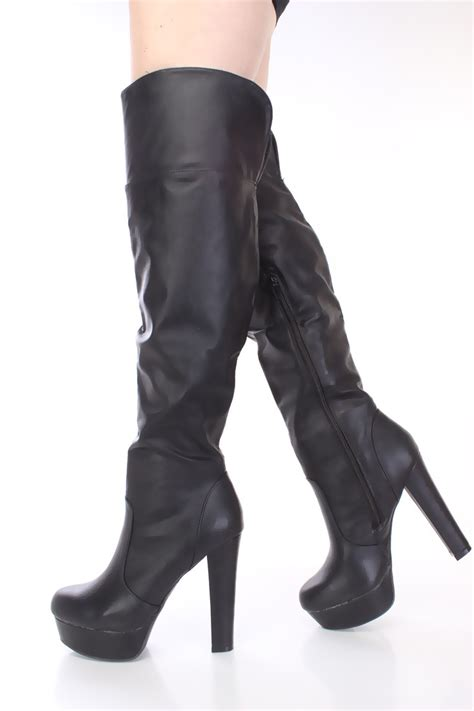 black thigh high platform boots faux leather