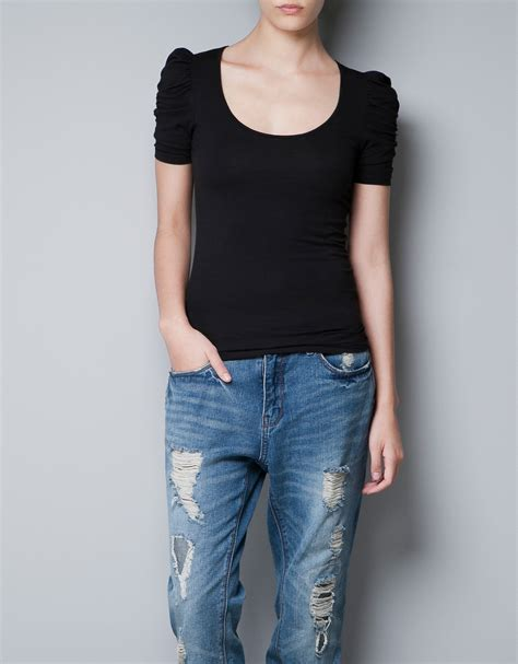 Puff Sleeve T Shirt zara puff sleeve t shirt in black lyst
