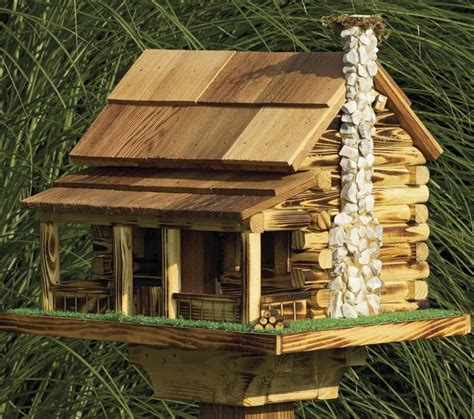 Handmade Log Cabin - amish country rustic handmade log cabin bird feeder with