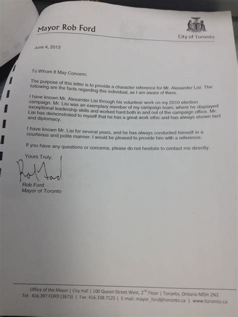 Character Letter For Home Office Sandro Lisi Hoped To Work For City Of Toronto With Mayor Rob Ford S Endorsement