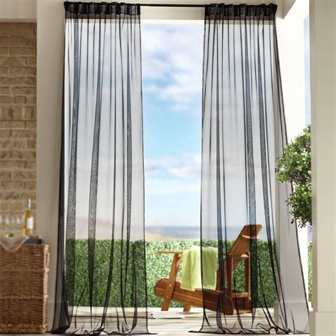 Outdoor Mesh Curtains Home Decorators Collection Sheer Black Mesh Outdoor Back Tab Curtain 1624461 The Home Depot