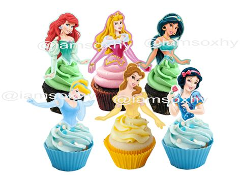 printable 12 mixed disney princess party cup cake toppers 24 disney princess cupcake cakepop toppers