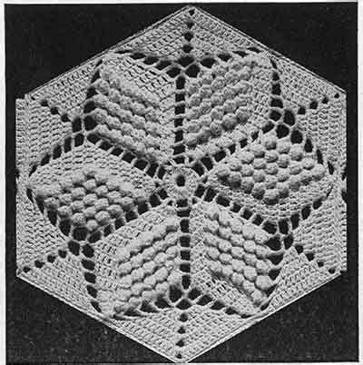 popcorn star bedspread pattern  swatch  crochet