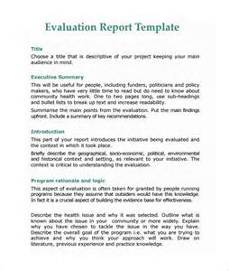 evaluation report template 10 free sles exles