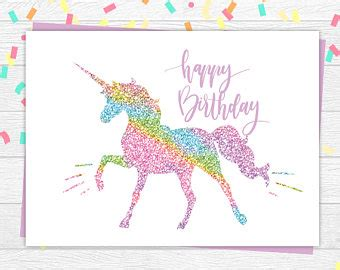 free printable birthday card unicorn unicorn card etsy