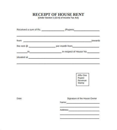 free rent receipt template 7 rent receipt templates free sles exles format