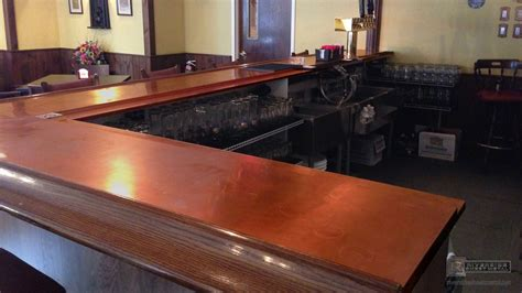bar top counter copper bar top with wooden arm molding rest ma usa
