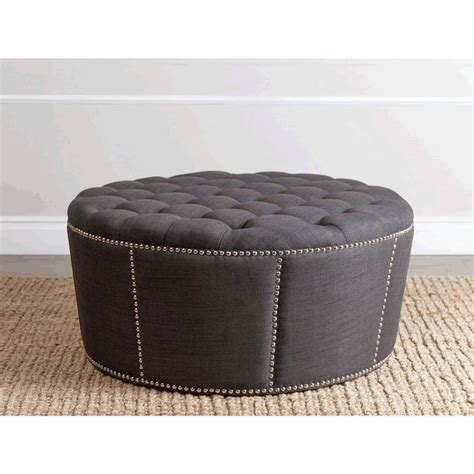 ottoman with nailhead trim abbyson living naples fabric nailhead trim ottoman in gray