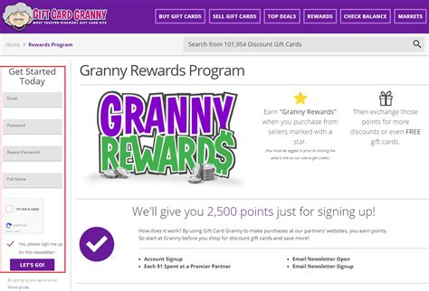 Gift Card Granny Com - granny rewards loyalty program receive 5 saveya egift card for 1 000 in gift card