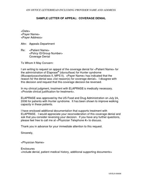 Appeal Letter Insurance Letter Of Appeal Format Best Template Collection