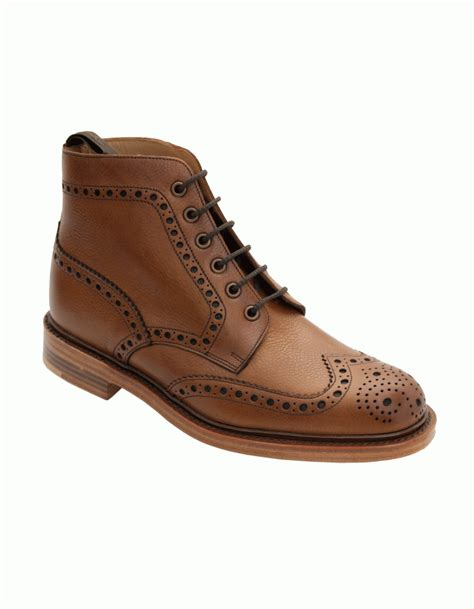 loake loake cogswell brogue grain leather boot brown