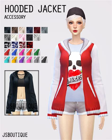 jsboutique hair 1 comes in all the default ea hair my sims 4 blog accessory hooded jacket for females by