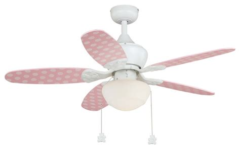 pink and white ceiling fan alex 44 quot ceiling fan white pink polka dots pink blades