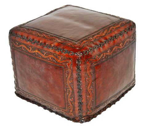 Large Square Leather Ottoman Tooled Leather Large Square Ottoman With Classic Stitch In Antique Brown