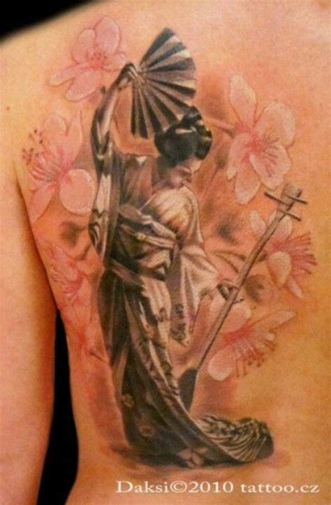 Geisha Tattoo With Cherry Blossoms | geisha tattoo tattoos piercings pinterest