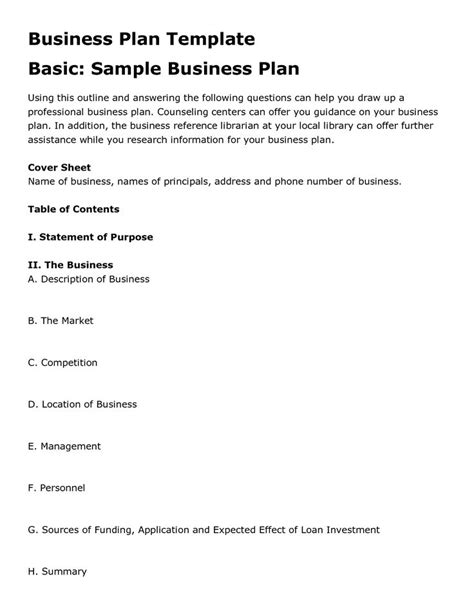 Simple Business Plan Template Free Business Template Basic Business Plan Template
