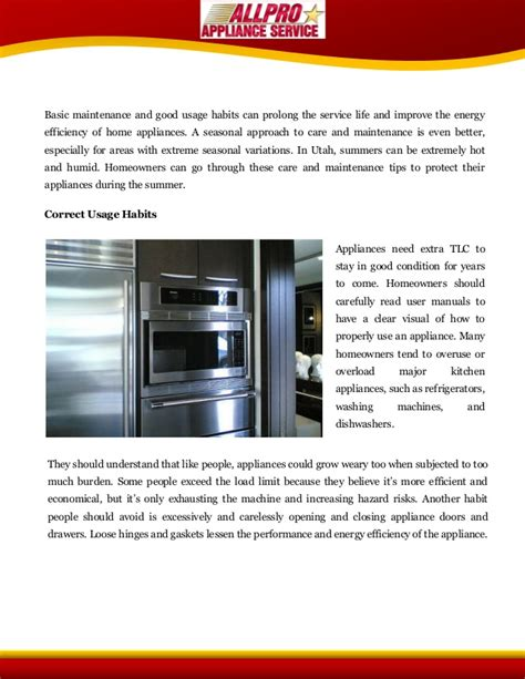 Care Tips 2 by Summertime Appliance Care Tips For Utahns