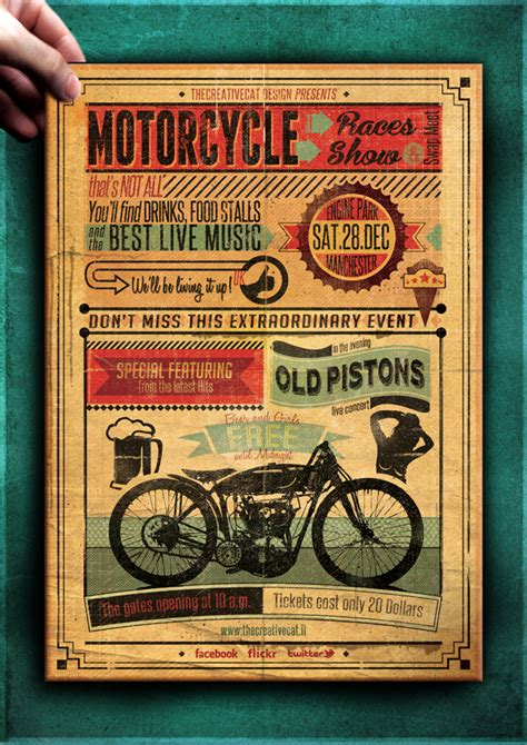vintage motorcycle flyer poster template vol 7 on behance