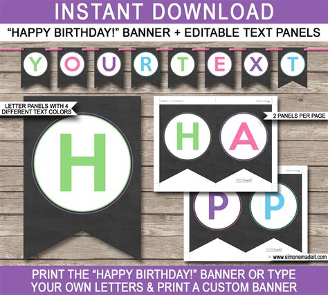 chalkboard party banner template birthday bunting