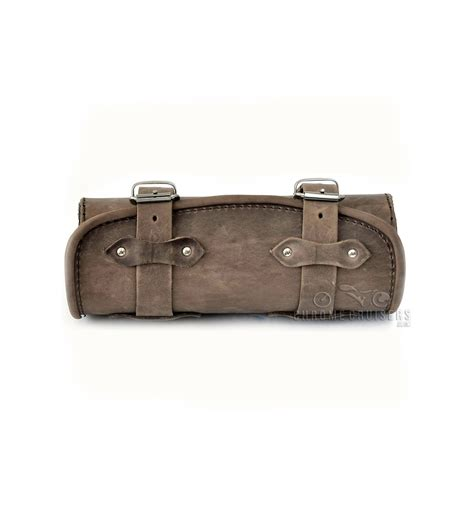 Leather Roll genuine brown leather tool roll bag chrome cruisers
