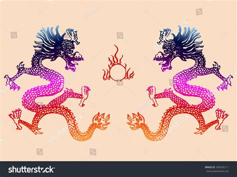 oriental design ancient chinese dragon on stock photo ancient chinese dragon pattern stock vector 585545111