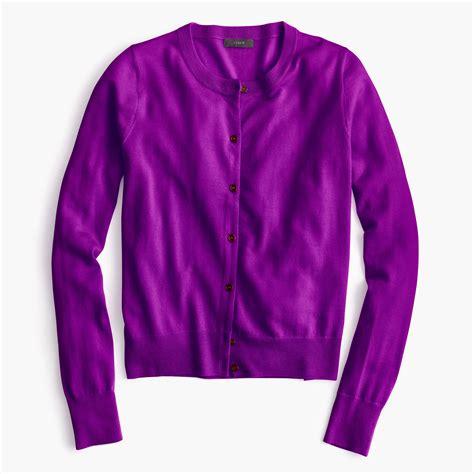 j crew lightweight wool jackie cardigan sweater in purple purple lyst