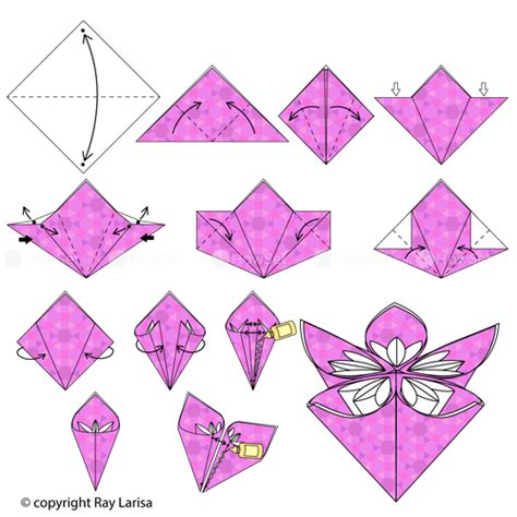 How Make Paper Flowers Steps - flower animated origami how to make origami