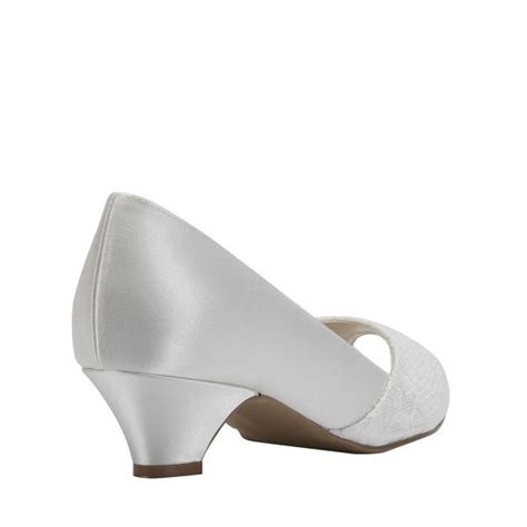 White Satin Bridal Shoes by S Comfortable White Satin Lace Kitten Heel Bridal