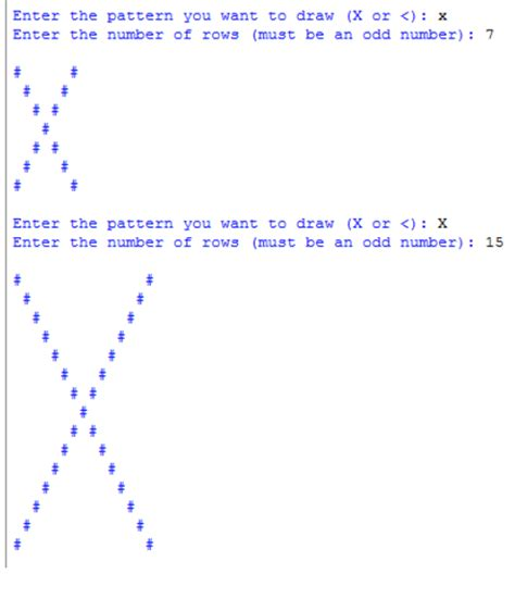 alphabet pattern programs in java using for loop drawing an quot x quot pattern in python using only nested for